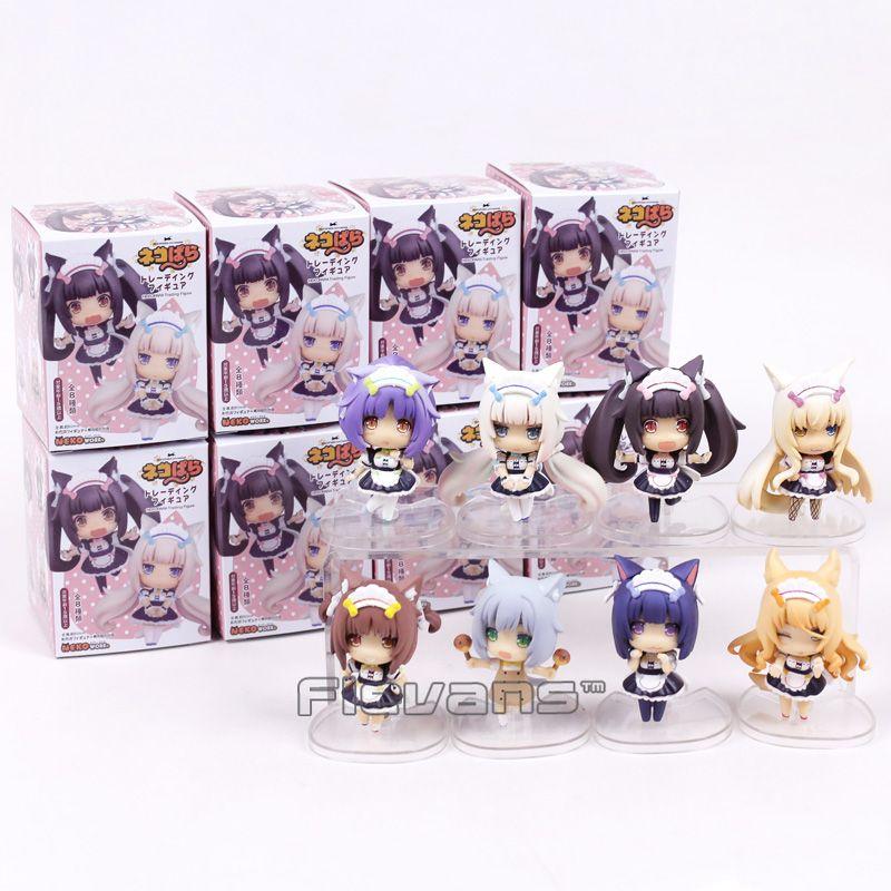 <font><b>8pcs</b></font>/set NEKOPARA Chocolat Vanilla Azuki Coconut Maple Cinnamon Q Version PVC Figures Collectible Model Toys 7cm