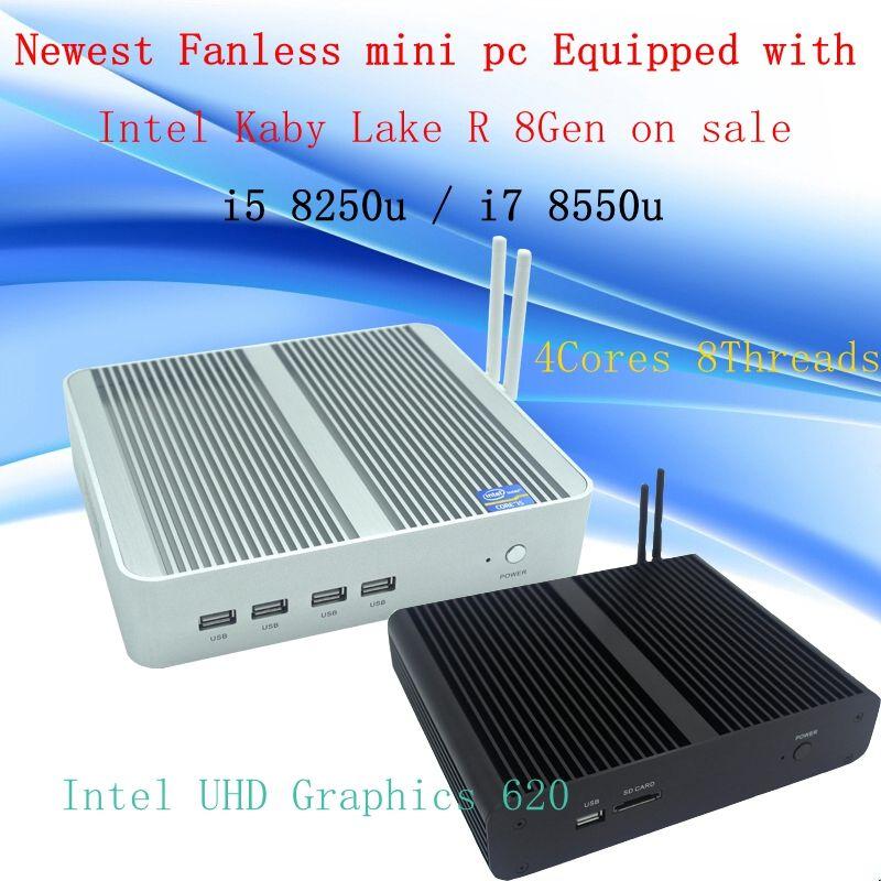 Neueste Kaby See R 8Gen Fanless mini pc i5 8250u/i7 8550u Intel UHD 620 win10 Quad Core 8 themen DDR4 2133 2400 NUC
