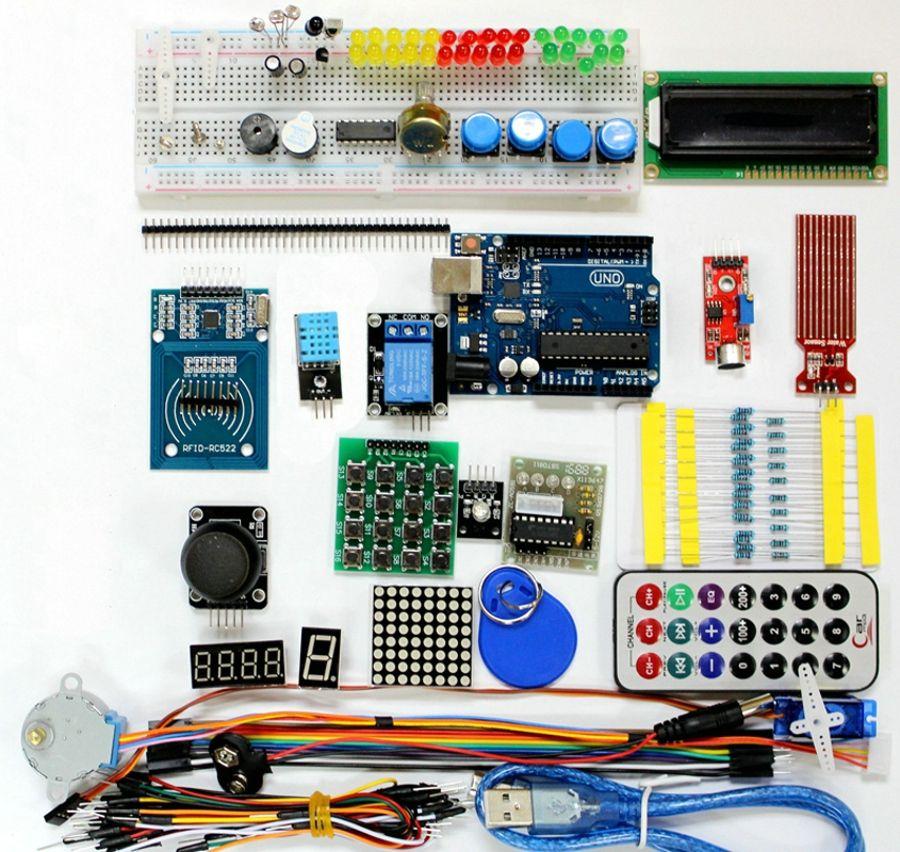 Vente chaude RFID Super Starter Kit Pour Arduino UNO R3 Amélioré Version D'apprentissage Suite LCD 1602 Servo Moteur Relais Avec la Boîte de Détail