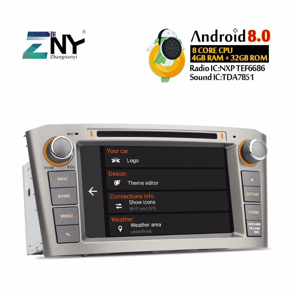 GPS NAVI Autoradio In Dash 2 Din For Avensis T25 2003 2004 2005 2006 2007 2008 Android 8.0 Car DVD Player 4GB+32GB with DVR OBD