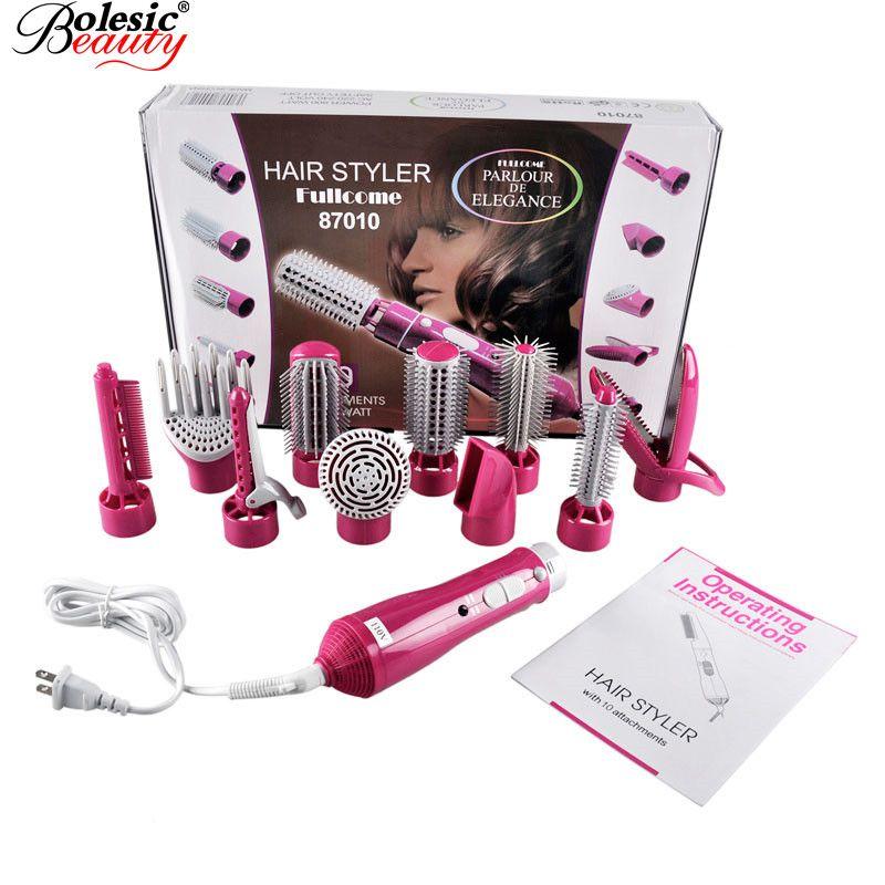 Promotion peigne à cheveux peignes électrique 10 In1 multifonctionnel bigoudis outils de coiffage bâtons sèche-linge ensemble pinces à friser