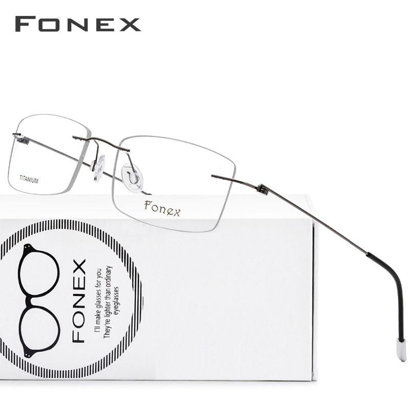 Alliage de titane sans monture lunettes cadre hommes ultra-léger Prescription carré lunettes femmes myopie cadre optique sans vis lunettes