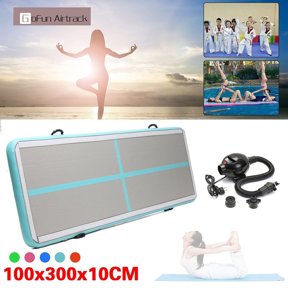 Newest 100x300x10cm Inflatable Tumble Track Trampoline Air Track Taekwondo Gymnastics Inflatable Air Mat