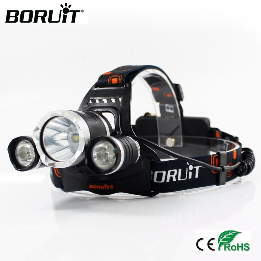 <font><b>BORUiT</b></font> XML T6 XPE LED 6000LM UV Headlamp 3-Mode Purple Headlight Rechargeable Head Torch Searching Flashlight by 18650 Battery
