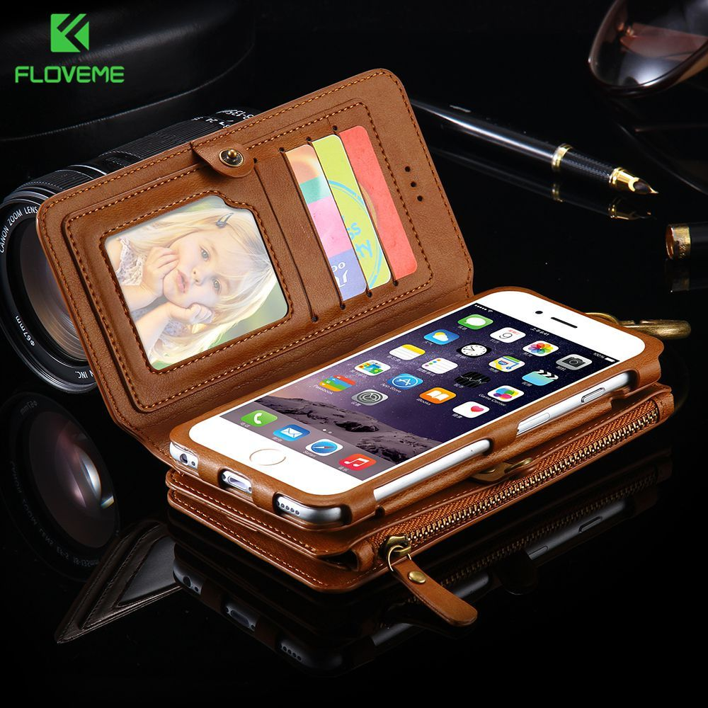 FLOVEME étui pour iphone 7 8 6 6s Plus 5s SE X XR XS MAX 11 Pro portefeuille en cuir rétro classique