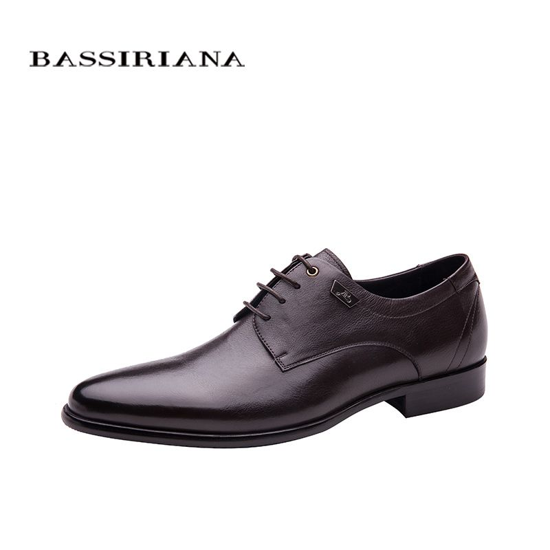 Shoes men Genuine leather Lace-up Spring Autumn Black Brown 36-40 Russian size Free shipping BASSIRIANA