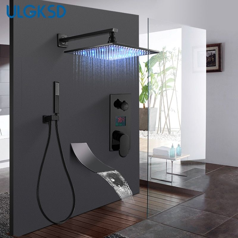 ULGKSD Bathroom Black Bronze Shower Faucet Set LED Digital Cold and Hot Mixer Tap W/ Waterfall Tub Faucets Para Bath Ducha