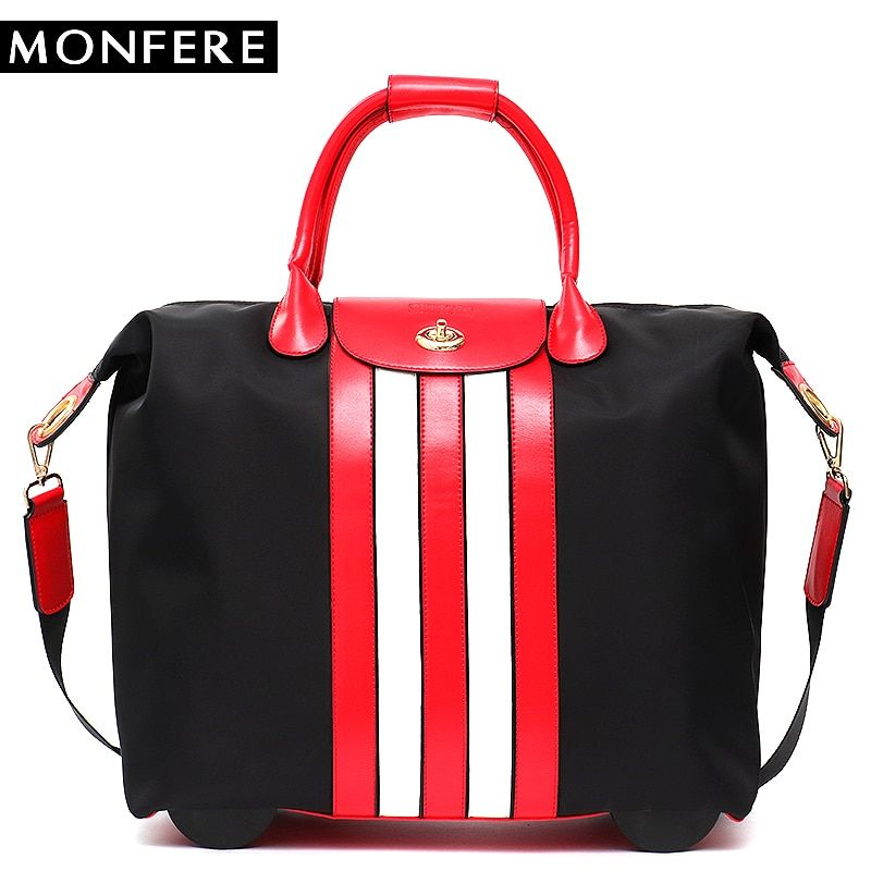 MONFERE Large Carry-Ons Travel Bag Drawbars Microfiber Vegan Leather Strip Luggage Overnight Suitcase Holiday Fixed Caster Bag
