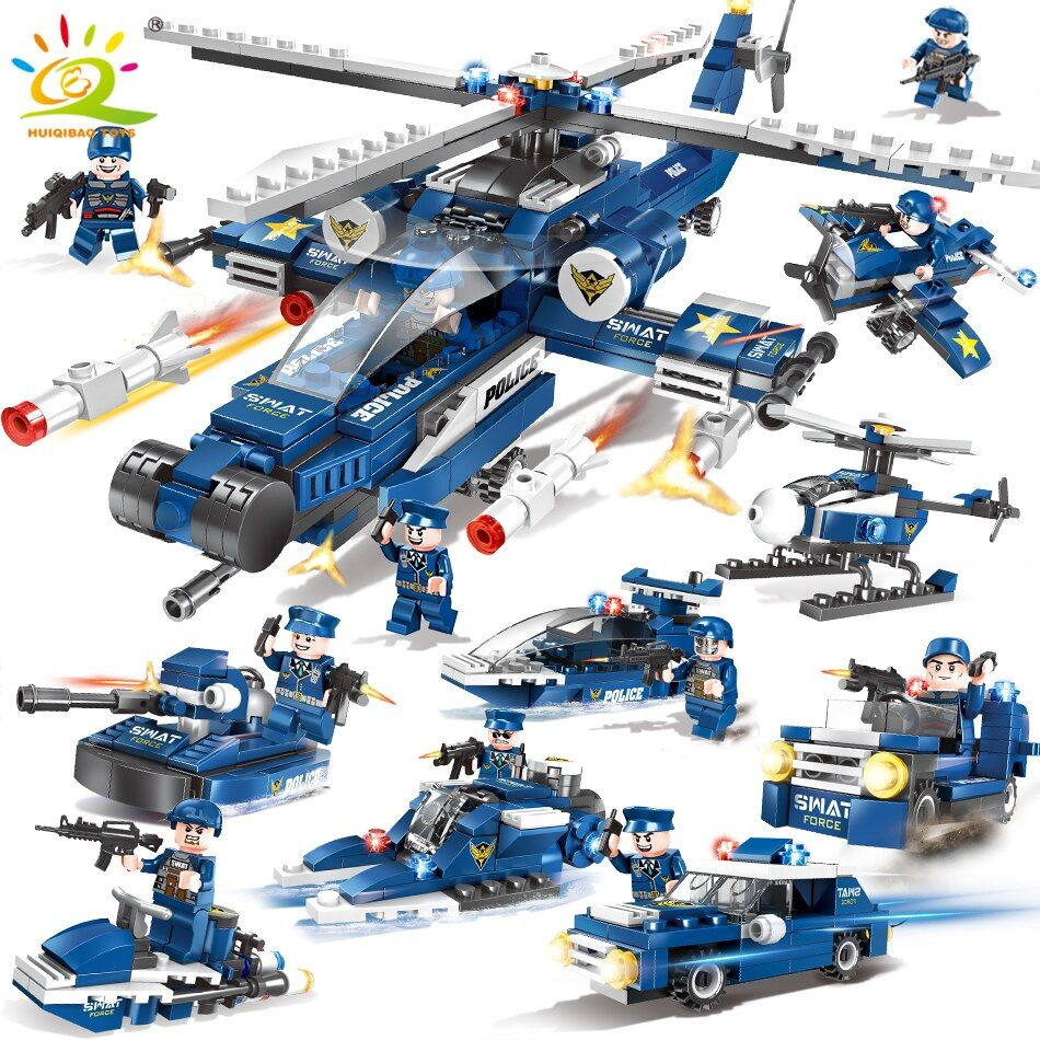 515pcs Swat Army Police Helicopter car Building Blocks Compatible Legoed city figures Weapon gun Educational Toys for Children