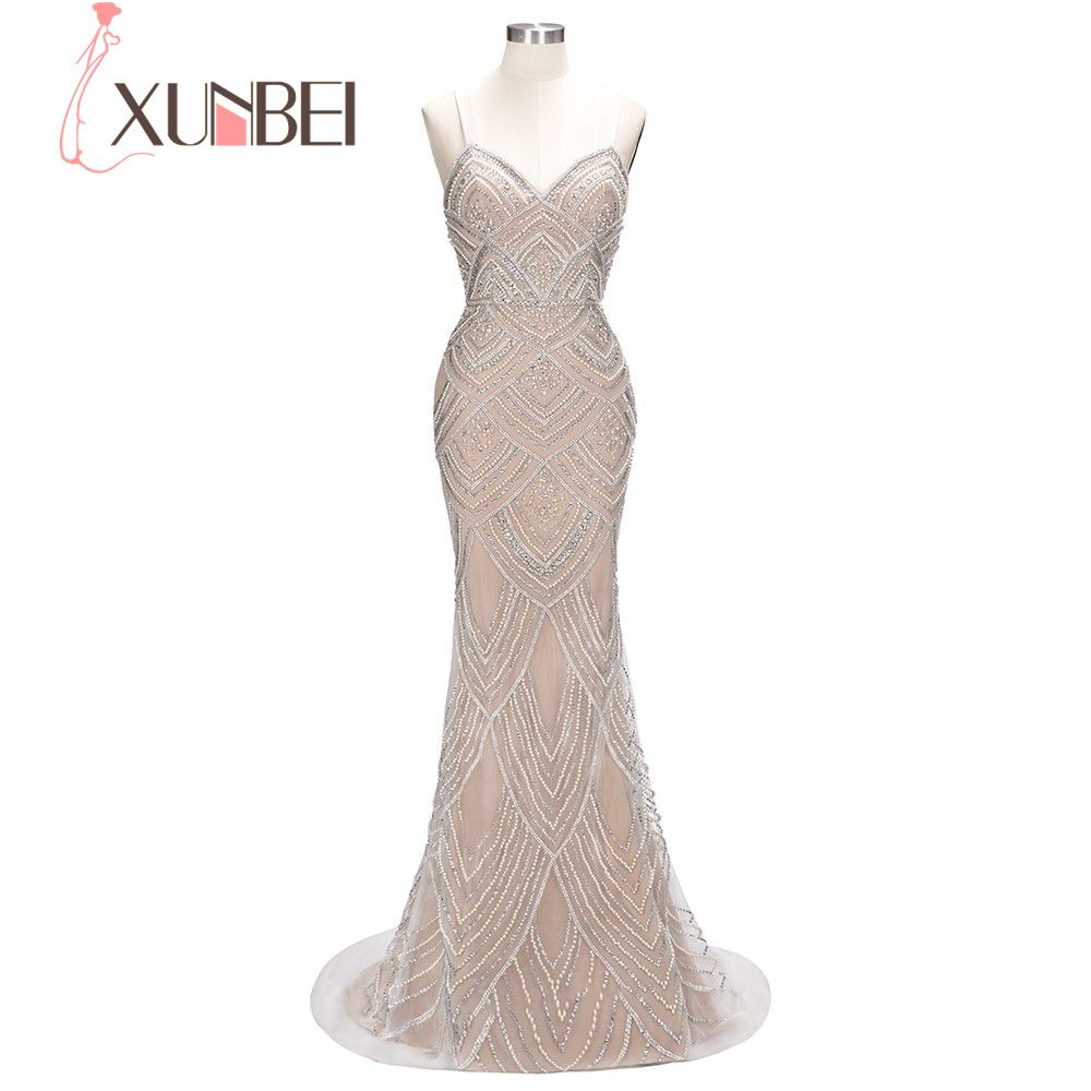 2018 Gorgeous Luxury Heavy Crystal Beading Sweetheart Floor Length Mermaid Evening Dress Massive Pearls Elegant Long Party Dress