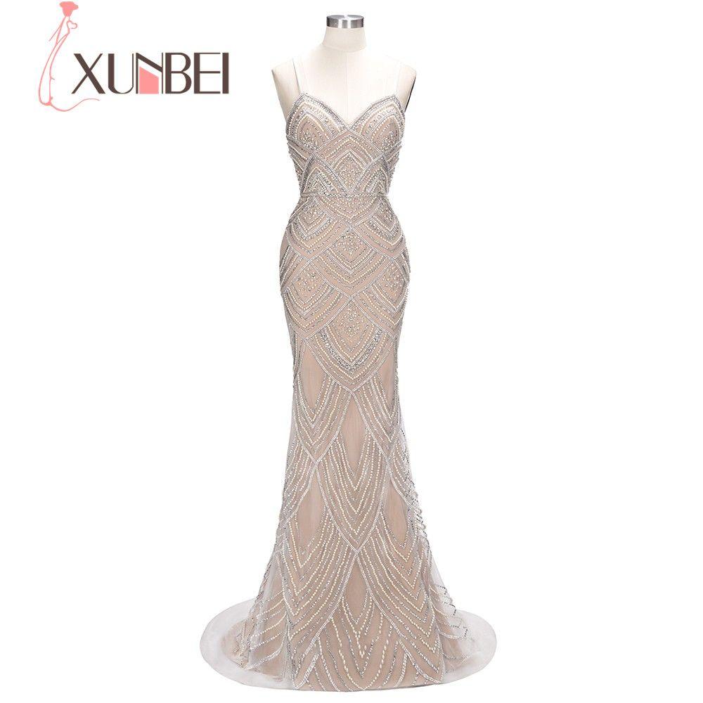 2018 wunderschöne Luxus Schwere Kristall Perlen Schatz Bodenlangen Meerjungfrau Abendkleid Massiven Perlen Elegante Lange Party Kleid