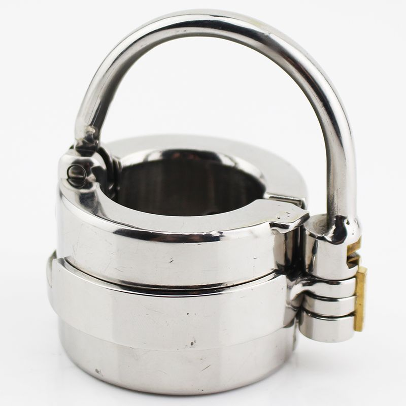 Latest Design Stealth Lock Design Scrotum Pendant Stainless Steel Ball Stretchers Cock Ring Locking Real Men CBT Sex Product