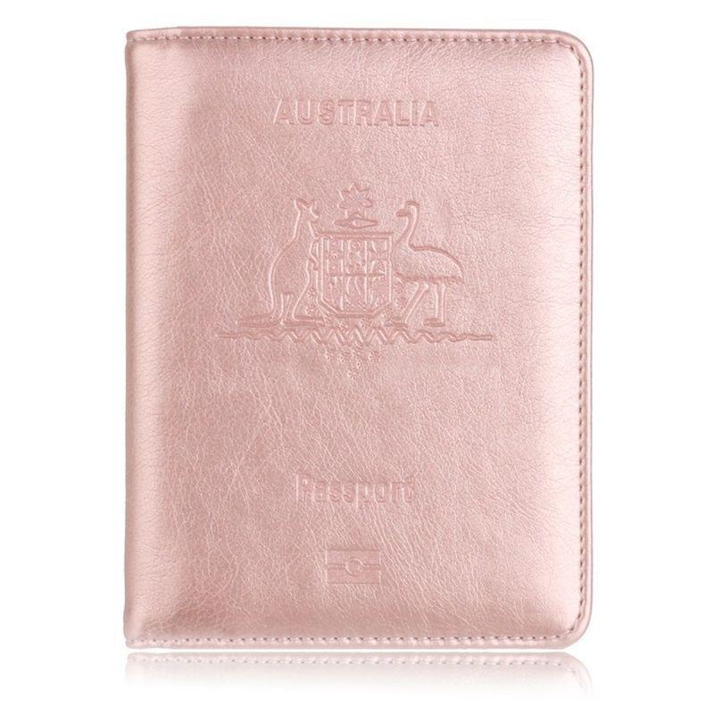 Offre spéciale porte-passeport de voyage RFID pour australie couverture de passeport protecteur en cuir pour étui de porte-carte de crédit d'affaires