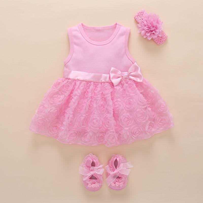 Bébé fille 1 an anniversaire robe rose fête noeud papillon boutique belle infantile princesse robe mignon dentelle fleur bébé robes