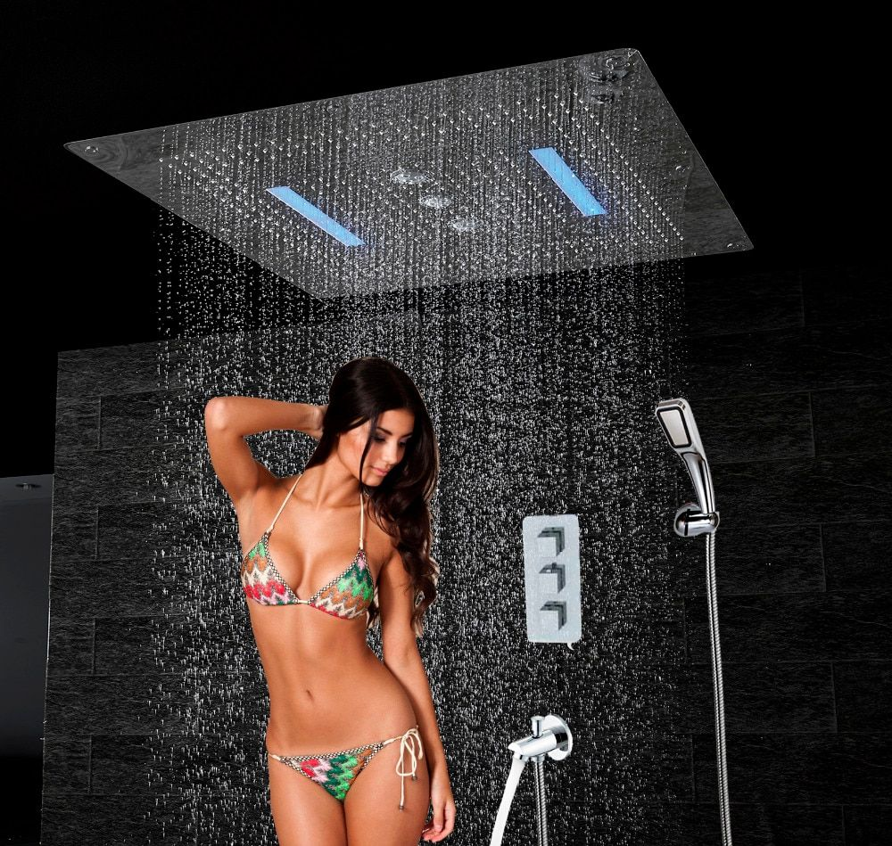 Luxury Bath Shower Set 6 functions Thermostatic Mixer 800x800 LED Ceiling Shower Head Rain Waterfall Swirl Double Rain HS5424