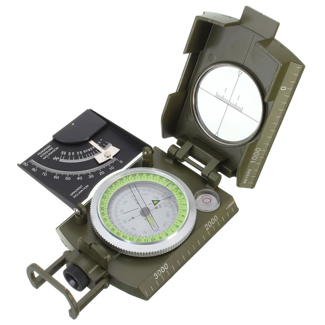 New Professional Military Army Metal Sighting Compass clinometer Camping
