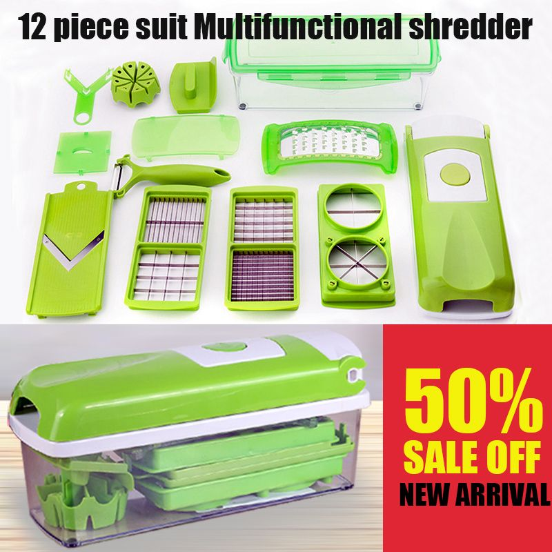 12 in 1 Multi-functional Grater Vegetable Cutter Sets Food Container Shredders Slicers sets With Stainless Steel Blades Graters