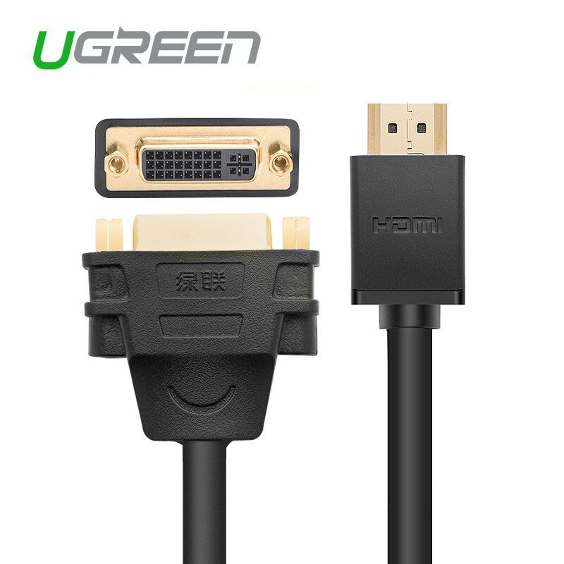 Ugreen HDMI to DVI 24+5 Cable Adapter HDMI Male to DVI DVI-I Female M-F Converter Adaptor Support 1080P for HDTV LCD , Black