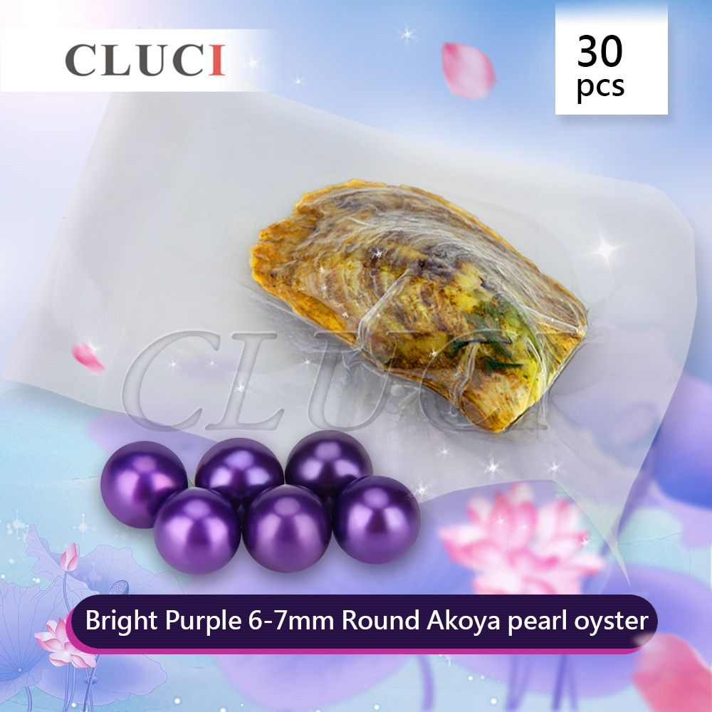 CLUCI Vacuum-packed 6-7mm round akoya Bright Purple pearl in oyster 30pcs Free Shipping, HOT SELLER