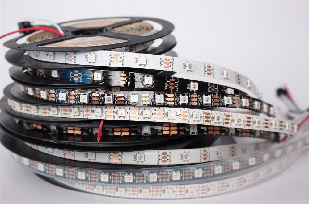 individually addressable 1m  5m waterproof ip65 ip67 5050 rgb 30 60 144 led/m 5v ws2811 ws2812 ws2812b led strip
