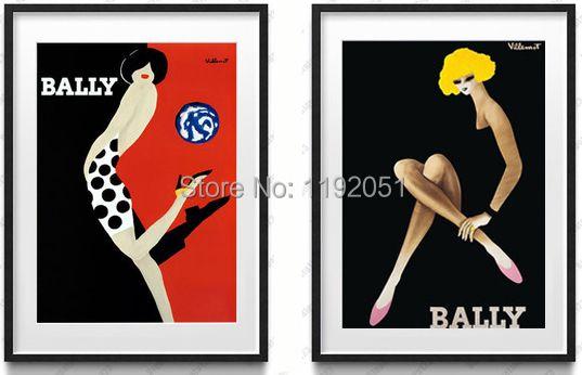 Vintage style photos murales imprime moderne salon décoration de la maison toile peintures bally filles noir et blanc photos affiches