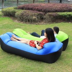 Inflatable Camping sofa lazy bag folding air sofa double pocket sleeping bags adult air bed lounge pad chair lounger mattress
