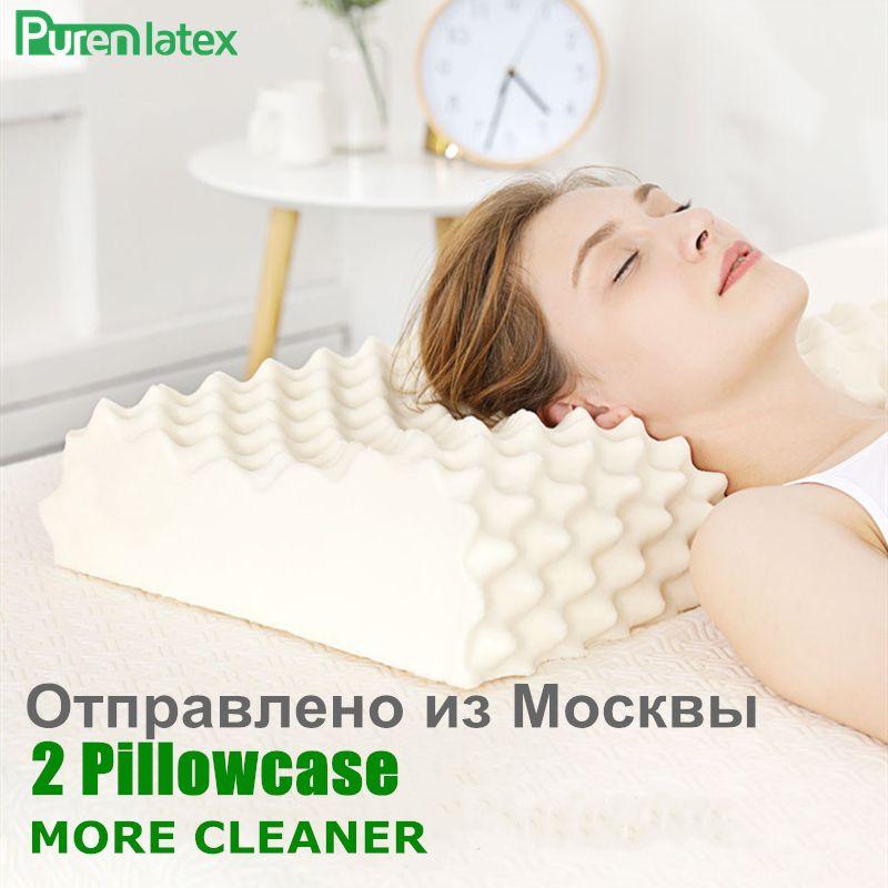 PurenLatex 60x38 Thaïlande Pur Latex Naturel Orthopédique oreiller Cervical De Protection Colonne Vertébrale De Massage Correctives Corps Oreillers