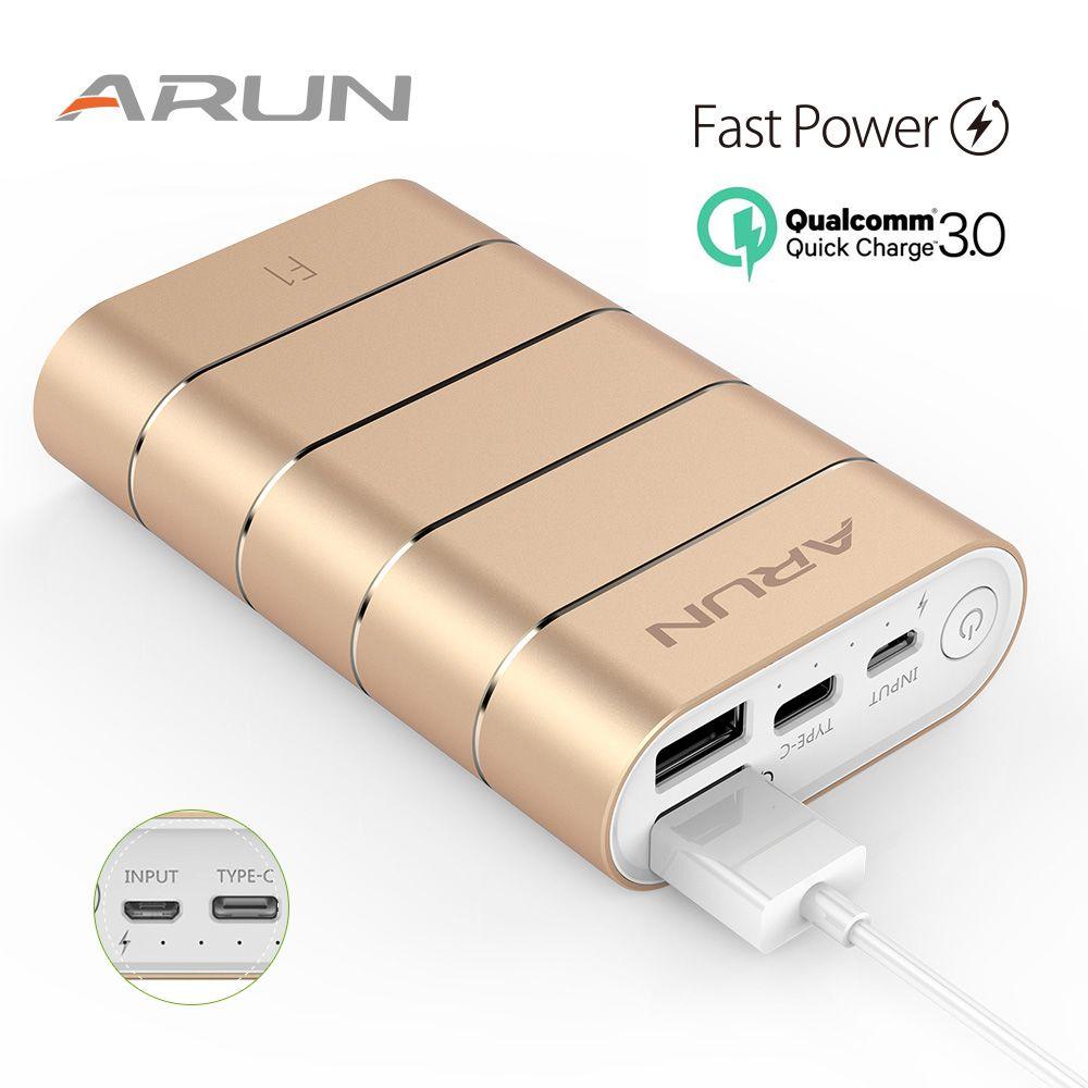 ARUN puissance banque 7500 mah Rapide Chargeur Externe Batterie F1 Portable Mobile Téléphone Chargeur Pour Samsung Huawei Xiaomi poverbank cas