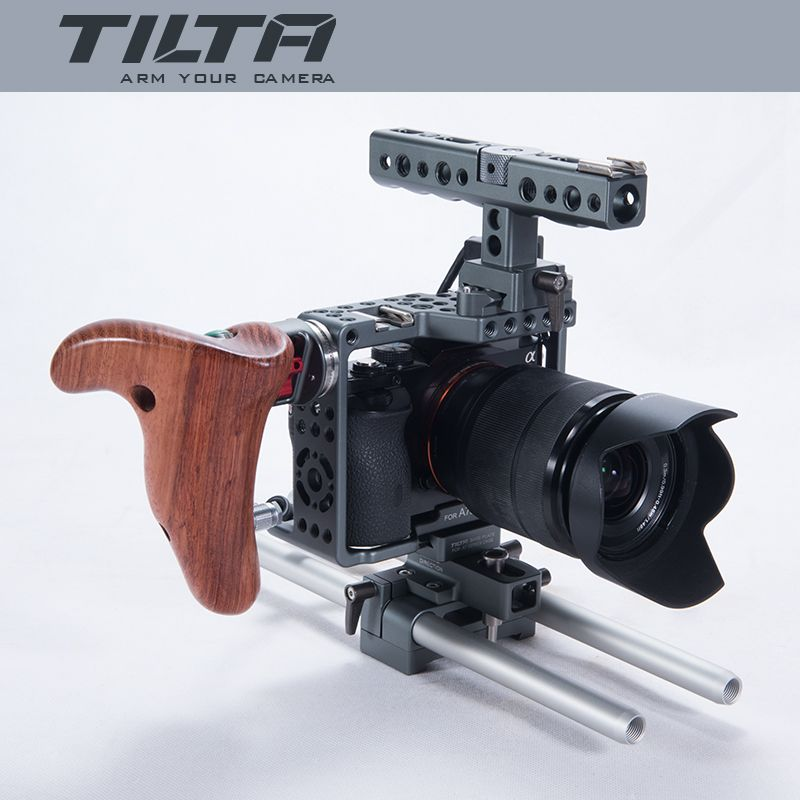NEW Tilta ES-T17A A7 Rig A7S A72 A7R A7R2 Rig Cage + Baseplate +NEW Wooden Handle For SONY A7 series camera TILTA ES-T17-A