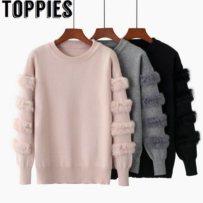 2018 Women Rabbit Fur Sleeves Loose Sweater O-neck Causal Knit Pullovers Women Fur Jumper