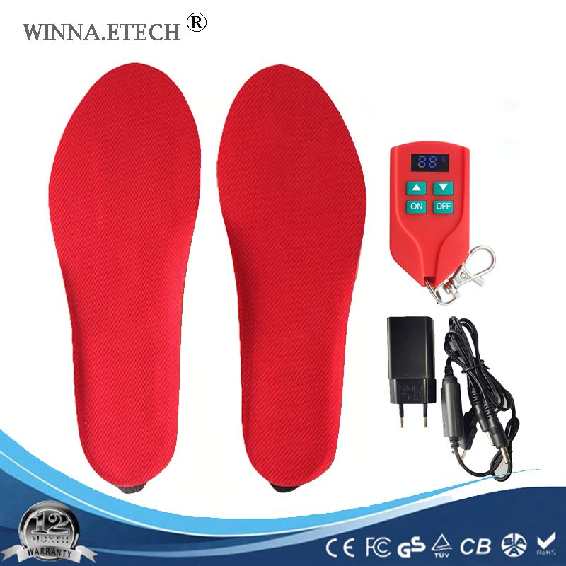 New USB electronic heating insoles for shoes men women boot Type Battery Powered ski Insoles Size EUR 35-46 # 2000MAH black red