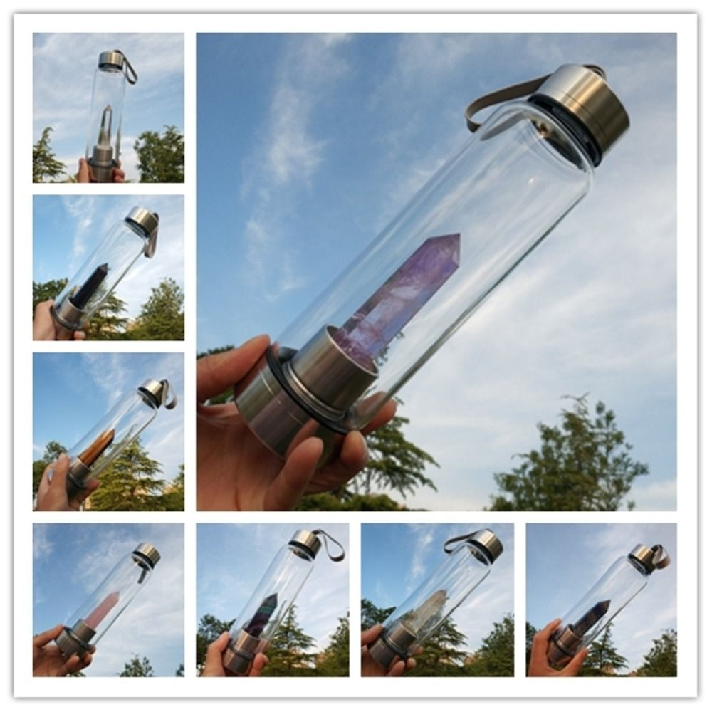 New Product All Kinds Of Natural Quartz Gemstone <font><b>Crystal</b></font> Glass Elixir Water Bottle Point With <font><b>Crystal</b></font> Wand Healing