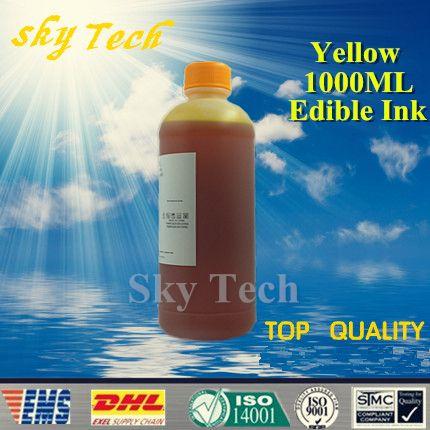 1000 ml Gelb Essbare tinte anzug für Epson & Canon etc drucker, 1 Liter gelb Lebensmittel Tinte kuchen tinte