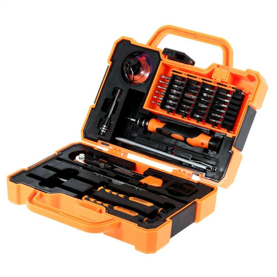 JAKEMY 45 en 1 outil de réparation de démontage jeu de tournevis de précision multi-bits avec pince à épiler adapté pour PC/téléphone/ordinateur portable