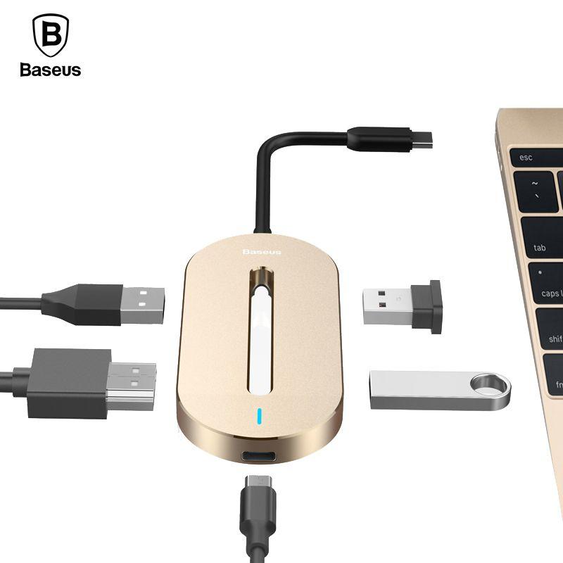 Baseus Universal HUB Typ c-konverter-adapter Typ C Stecker auf HDMI USB 3.0 Typ c Weibliche Adapter Kabel Für Macbook Pro Typ-c Notebook