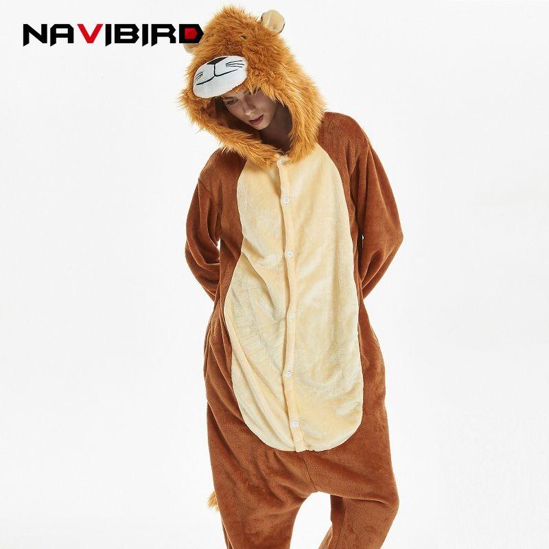 Kigurumi Lion Long Sleeve Hooded Onesie Men Women Flannel Kigurumi For Adults Winter Kegurumi One-Piece Animal Tiger Pajamas