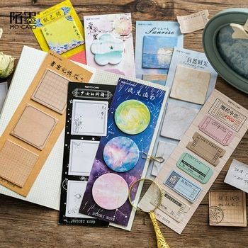 1 Set Memo Pads Sticky Notes Kawaii Vintage Diy Paper Notepad iary Scrapbooking Stickers Office School stationery Bookmark