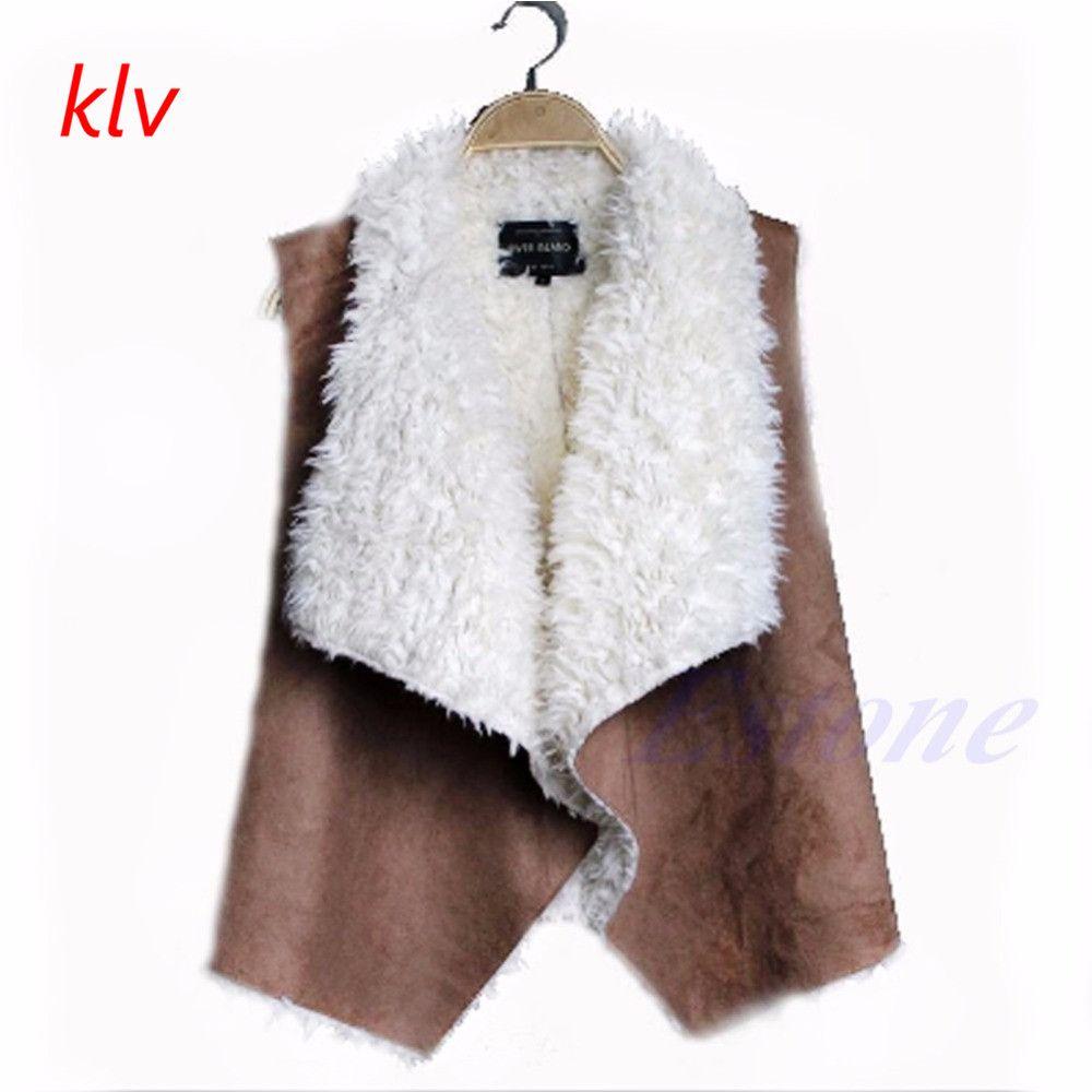 KLV Ladies Faux Fur Sleeveless Vest Waistcoat Gilet Wrap Shrug Coat Jacket Outwear Warm Winter furs Women's