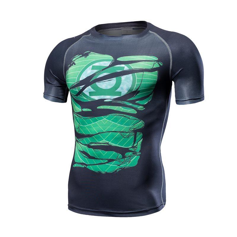 Green lantern VS Superman T-shirt Tee 3D Imprimé T-shirts hommes À manches Courtes de Remise En Forme Cosplay Costume Slim Fit Top Compression mâle