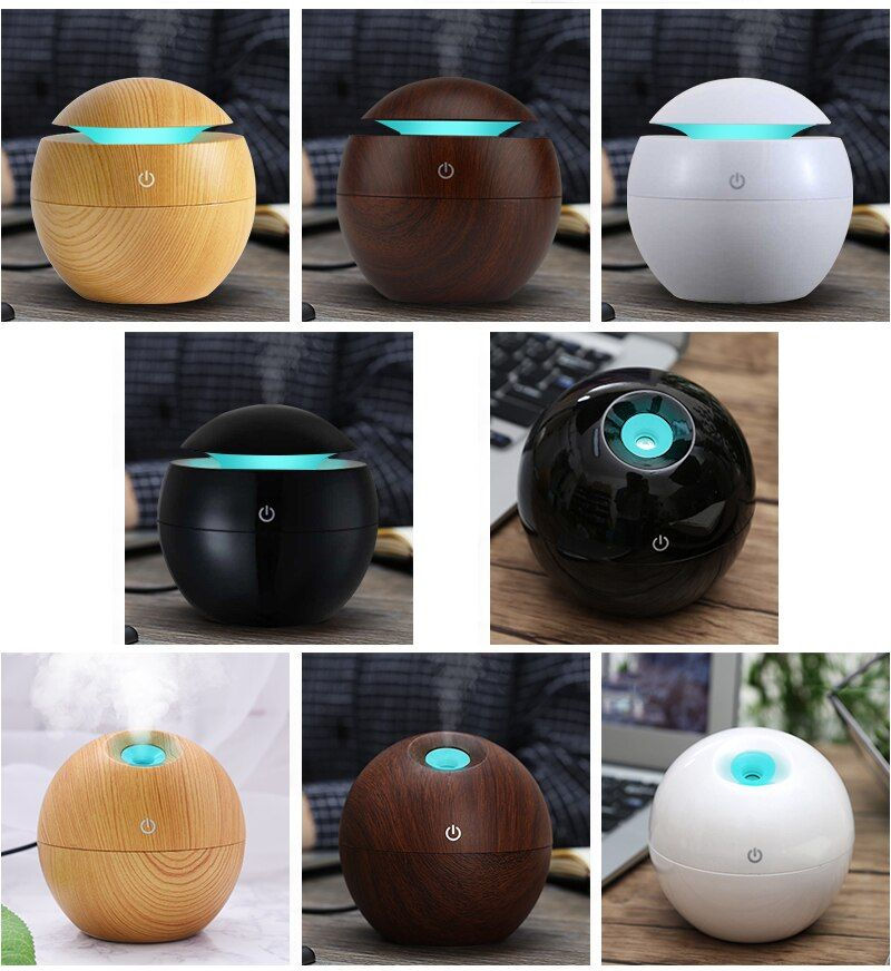 Mini Wooden Aromatherapy Humidifier Aroma Diffuser Essential Oil Diffuser Air Purifier Color <font><b>Changing</b></font> LED Touch Switch