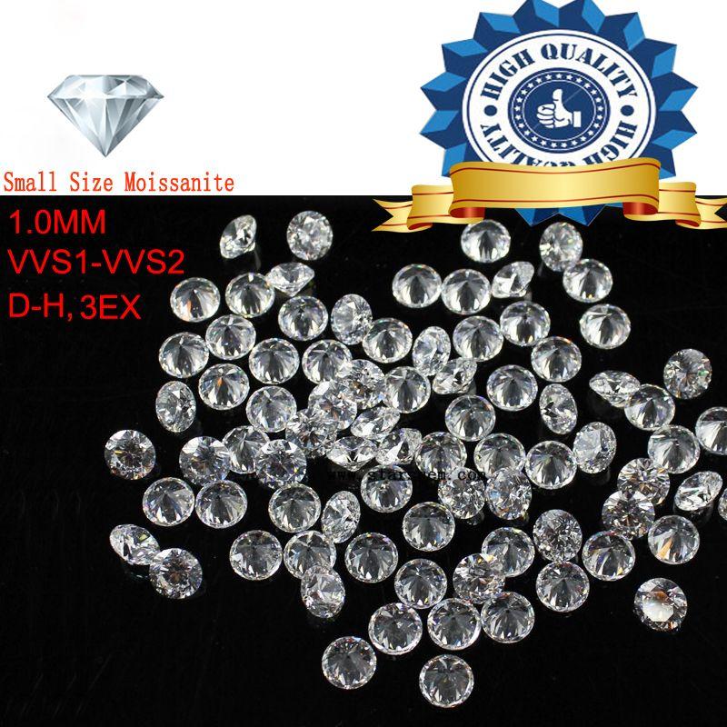 2 pcs/Lot Petite Taille 1.0mm Blanc couleur Moissanite Ronde Excellente Moissanites Lâche Pierre pour fabrication de Bijoux