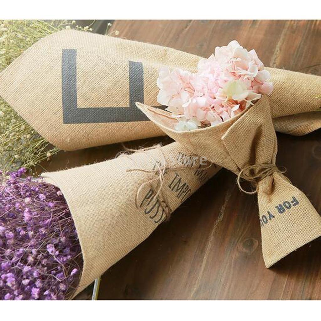Toile de jute Bouquet Wrap Fleur Main Titulaire Cône Wrap avec Monogramme De Mariage D'anniversaire Valentine Jour Cadeau Faveur