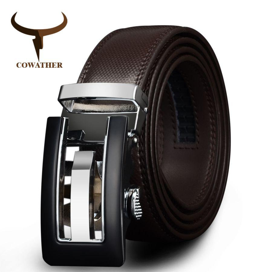COWATHER 2017 <font><b>Genuine</b></font> Leather belts for men High quality brown black color metal automatic buckle Strap male Jeans cowboy CZ045