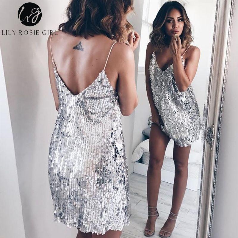 Col en V profond argent pailleté dos nu Sexy robe femmes épaule dénudée Mini robe courte soirée de noël Club sangle robes Vestidos