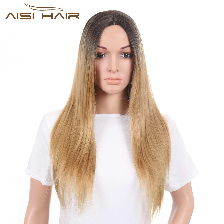 Я в парик Искусственные парики Ombre блондинка коричневый розовый зеленый длинные прямые волосы черный парик для Для женщин