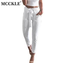 MCCKLE Rayé Strechy Élastique Taille Haute Harem Pantalon Femmes Bowtie Ceinture Mince Pantalons Longs Femmes de Capris Occasionnels Avec Poches