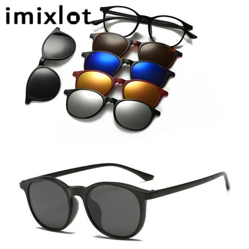 IMIXLOT 5 lentille magnétique lunettes de soleil Clip miroir Clip sur lunettes de soleil hommes polarisé Clips personnalisé Prescription myopie