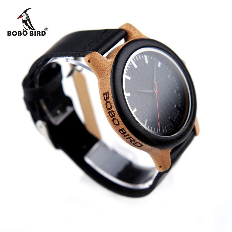 BOBO BIRD Luxury Brand Mens Watches Women Bamboo Watches Black Leather Strap Quartz Wrist Watches relogio masculino C-M13