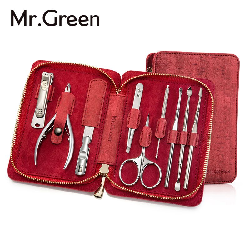 MR.GREEN 9 IN1 Manicure Set Professional Stainless steel nail clippers scissors grooming kit art Cuticle Utility manicure tools