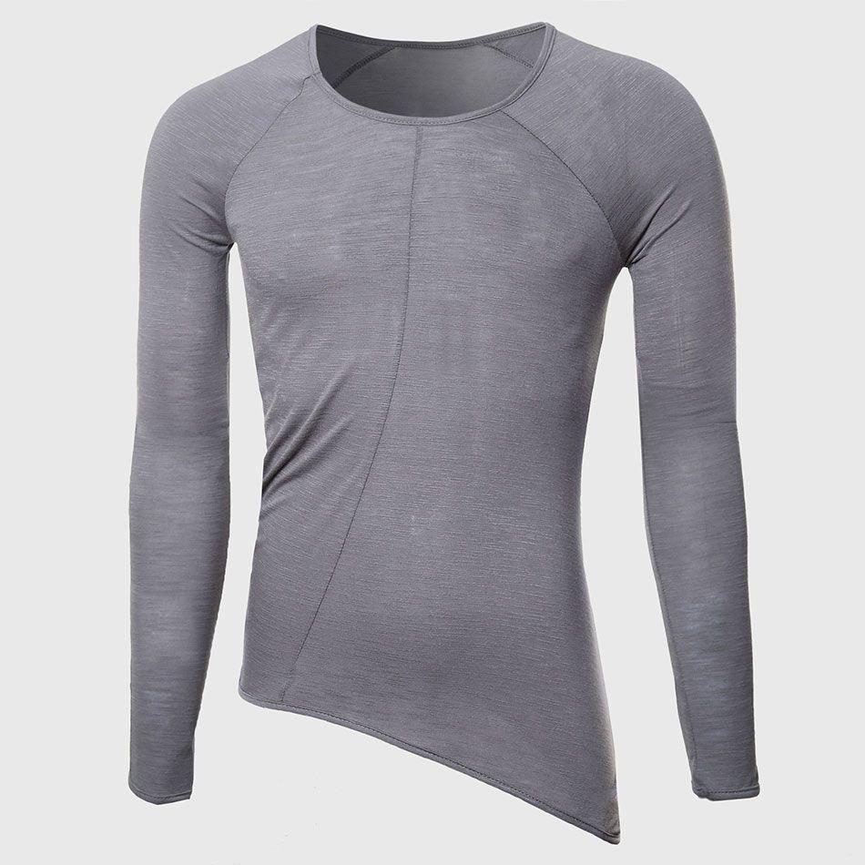 Hommes Cool À La Palangre T Chemises Mignon Oversize Transparent T-shirts Mâle grand O Cou Tops Designer Hem Plaine Motif Hip Hop Élégant